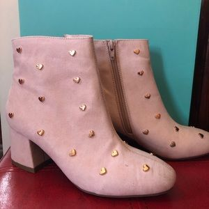 Bar III Blush Booties with Gold Heart Studs